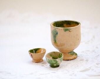 Mini Ceramic Bowls and Pot, Doll House Miniatures