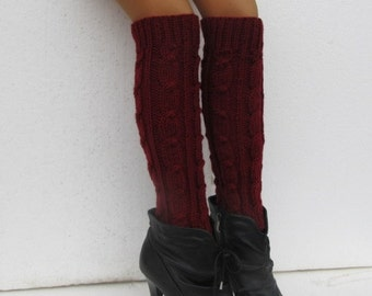 Knit Boot Cuff, Wool, Chunky Legwarmers Maroon Color, Long Leg Warmers, wellies boot cuff - raincity boot , gift for her , Christmas gift(6)