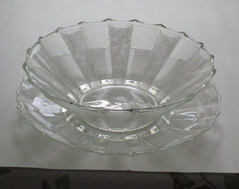 Crystal Dewdrop Large Serving Bowl & Liner Plate Platter