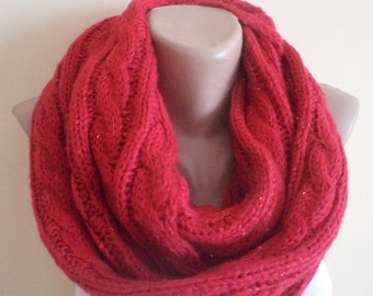 Knit Scarf, Cowl, Holiday Gifts, circle scarf,  christmas gifts, Neckwarmer, woman accessories, infinity scarf, cable scarf
