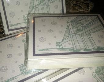NYC Brooklyn Bridge Christmas Card SET- 8 Holiday Cards, Snowflake Design, Modern, Handmade. Manhattan Christmas Cards - NYC Christmas Cards