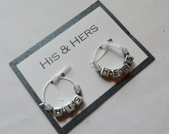 His and Hers wine charms set 2 charms wine glass charms gift set fun wine wedding glass charms Mr. and Mrs. bottle charms his & her charms