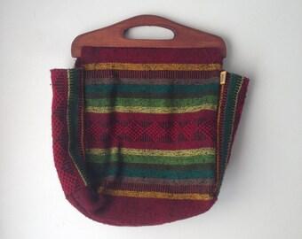 Vintage Pinzon- Woven Wool Handbag, Baja Tribal Design, Wooden Handles, Boho, Hippie