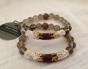 Smoky quartz and swarovski crystal stretch bracelet.