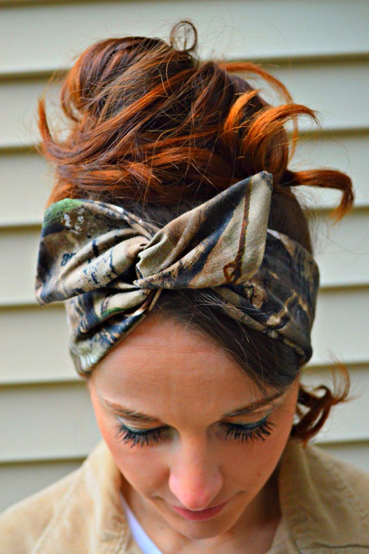 Real Tree Camo Dolly Bow Head Band Hair Bow