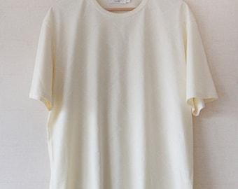 Yves Saint Laurent signature light yellow men T-shirt XL