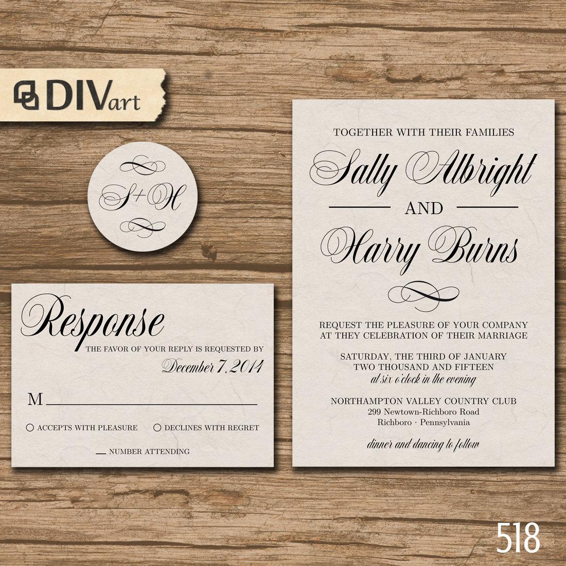 PRINTABLE DIY Wedding Invitation Suite, Response Card