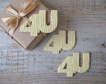 Gift tags, For you personal Gift tag in knitting texture, decor gift packaging, Birthday personal 4U tags