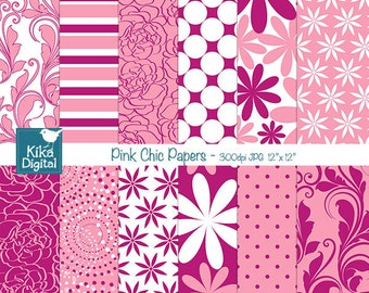 SALE Pink Digital Papers - Pink Chic Digital Scrapbook Papers - card design, invitations, background, paper crafts - INSTANT DOWNLOAD