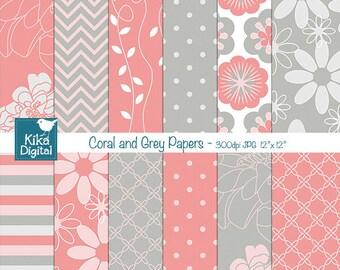 Coral and Grey Digital Papers - Digital Scrapbooking - card design, invitations, background, paper crafts, web design - INSTANT DOWNLOAD