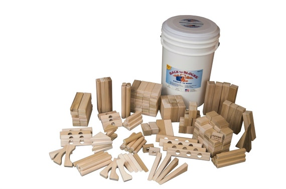 Large Set Of Wooden Blocks -190 Blocks In Great Storage Bucket-Free Shipping To U.S.