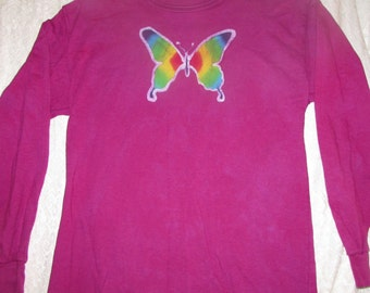 Kid's Batik Rainbow Butterfly Long Sleeve Shirt