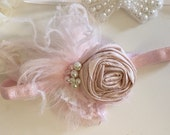 Baby Girl Headband- Flower Girl Headband- Blush Headband- Newborn Headband-Baby Headband