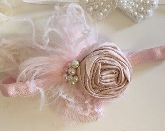 Baby Girl Headband- Flower Girl Headband- Blush Headband- Newborn Headband-Baby Headband