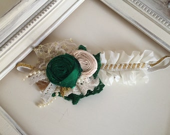 Baby Girl Holiday Headband-Emerald Ivory Headband- Well Dressed Wold-WDW Headband-Flower Girl Bow