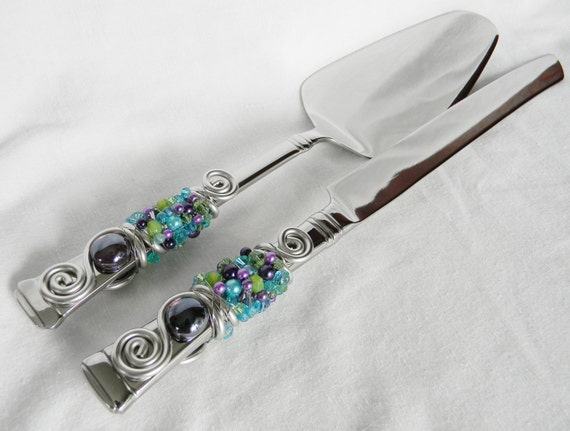 BEADED Wedding Cake Server and Knife Serving Set - PEACOCK Variation 3 - Glass beads, Swarovski Crystal and Pearls - May be Personalized!