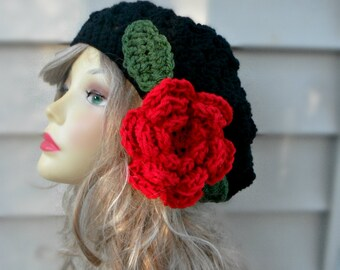 Slouchy Crochet Hat Large Hat with Flower Womens Crochet Slouch Beanie Winter Beanie Hat Summer Hat Women  Hair Accessories Unique Hats