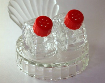 SALE! Mid-Century Glass SALT & PEPPER Shakers -- 3-piece Set