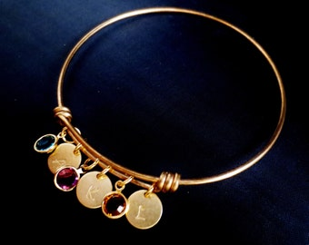 Personalized Initial Bangle Charm Bracelet, Birthstone Grandma Keepsake Cuff, Gold Disc Crystal Cuff, Family Tree Jewelry