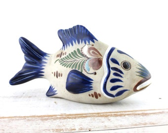 Vintage Tonala Pottery Fish / Signed Mexican Art Pottery Figurine