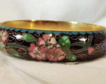 Bangle Bracelet Vintage Wide Exquisite Hand Enameled Cloisonne Floral Bracelet on GP Brass Big Bold Exotic Wear Alone or Stack Exquisite