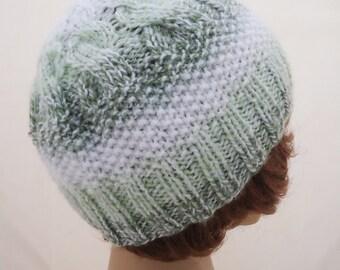 Ski Knitt hat, Handknitted Hat, Women Hat, Cable Hat, White and Green Hat, Knitt Girls Hat, UK Seller