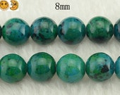 15 inch strand of Synthetic Chrysocolla smooth round beads 8 mm