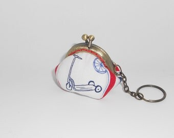Scooter tricycle red blue white stripe mini coin/change pouch/purse/wallet w metal frame/key chain