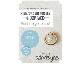 "40mm miniature embroidery hoop frame kit - 1.6"" hoop frame set ONLY - unique Dandelyne miniature hoop"