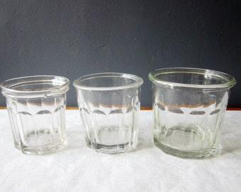 3 vintage french glass Jam Jars, 1940s, Jam jar, Confiture Pot, Verre, Antique, Retro kitchen, France