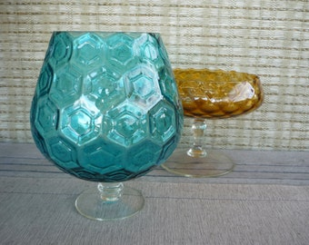 Vintage Collectable Optic Glass Footed Candy Bowl, Turquoise Glass, Geometric Pattern Art Glass