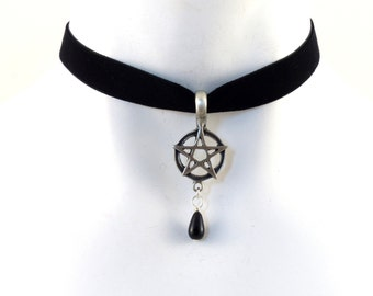 Gothic Choker with Pentagram Pendant on Black Velvet with Teardrop Bead - Goth, Rock, Necklace, Jewelry