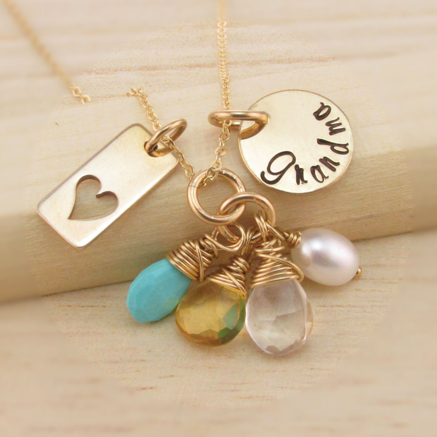 Hand stamped grandma necklace personalized 14k gold filled for Grandmother jewelry you can add to