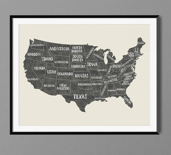 USA States Map Names Art Print Poster Black Chalk Gift Idea - Poster map of usa