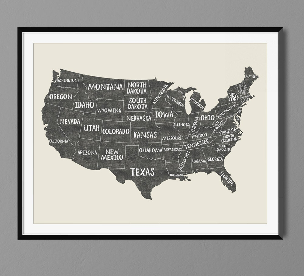 usa states map names art print poster black chalk gift idea. Black Bedroom Furniture Sets. Home Design Ideas