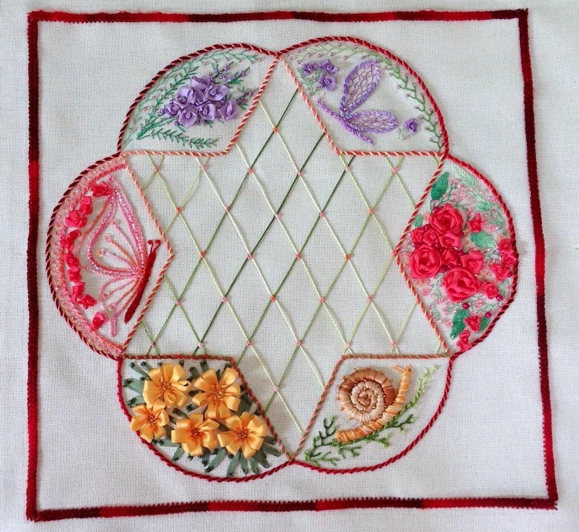 Tutorial spring blooms silk ribbon by arlenescraftsshop on