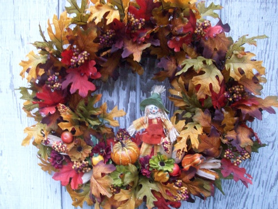 Sale Clearance Fall Autumn Wreath Harvest Wreath By