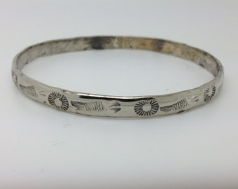 Fish and Sun Hand Stamped Native American Bangle - Mexico Sterling Silver Signed Bangle Bracelet