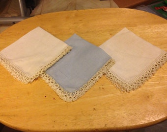 3 Handkerchiefs with Hand Tatted Trim
