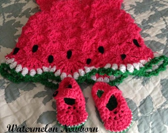 0-3 Month Watermelon Baby Dress and Booties Outfit