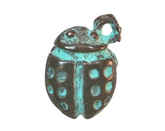 6 Mykonos Ladybug 7/16 inch ( 9 mm ) Metal with Green Copper Patina Charm