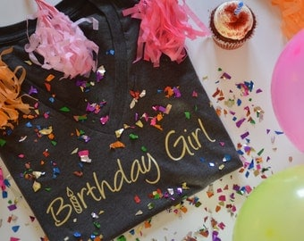 Birthday Girl Shirt - Gold Metallic - tshirt - fashion