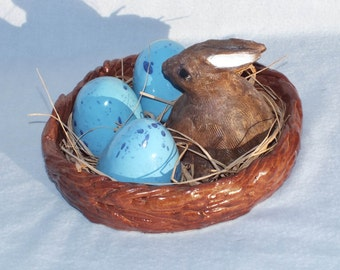 OOAK Rabbit's Nest with Blue Eggs, handmade, easter bunny, spring, assemblage, mixed media