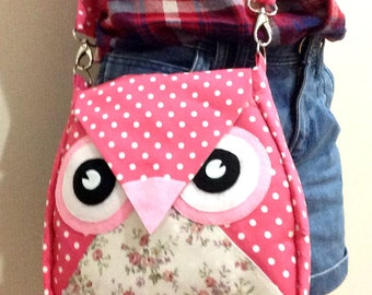 Pinka Dot : Flip Bag, Owl Bag, flower, messenger bag, tote, animal, women, kid bag, children bag, fabric bag, girl bag, boy bag, poka dot