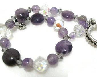 Amethyst Bracelet beaded February birthstone vintage crystal and Swarovski violet crystal gift for her Birthday Mother's Day Graduation