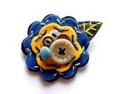 Felt Flower Pin Brooch for Women Jewelry Re-purposed Yellow Blue White