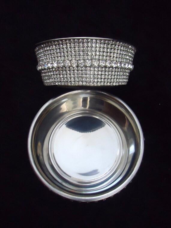 Beautiful rhinestone crystal water food dog or cat bowl fancy bling