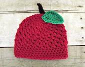 child apple hat, baby apple hat, adult apple hat, choose your size crochet apple hat