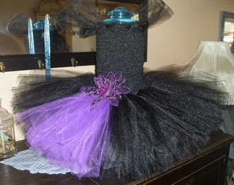 Black and Purple Christmas Flower Girl Tutu Dress