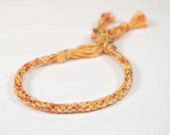 Yellow Fibre Bracelet Kumihimo Yellow Sunflower with Sparkles Jewelry